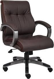 boss brown leather double plush mid back office chair
