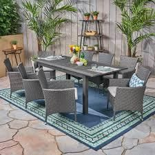 Nadia Outdoor wood and wicker chairs set of 2 grey