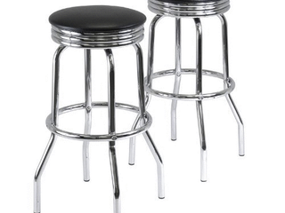 Summit 2 Piece Swivel Stools with Faux leather   Black  Metal   Winsome