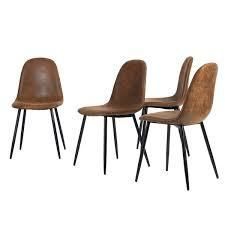 Carbon loft Sirola Mid century Powder coated Brown 4 piece Dining Chair Set