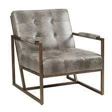 Strick   Bolton Normani Grey Faux leather Metal Frame lounge Chair  Retail 309 49