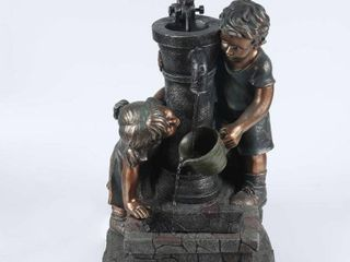 Resin Children and Water Pump Outdoor Patio Fountain  Retail 183 99