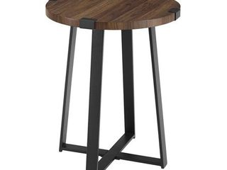 18  Metal Wrap Round Side Table   Dark Walnut