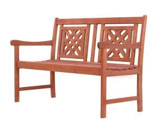 Malibu Outdoor Patio Plaid 4 foot Eucalyptus Hardwood Bench  Retail 139 99