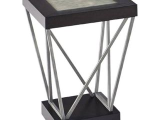Distressed Metal and Ceramic Square Chairside Table   18  x 18  x 24  h  Retail 173 99