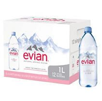 evian Natural Spring Water 1 liter  12 Count