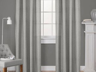 Set of 2  84 x52  loha linen Grommet Top light Filtering Curtain Panel Black Pearl   Exclusive Home