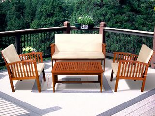Carolina 4 piece Outdoor Acacia Sofa Set Brown Patina Cream Cushion by Christopher Knight Home Retail 534 49