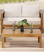 linwood Outdoor Acacia Wood Chat Set with Wicker Accents by Christopher Knight Home