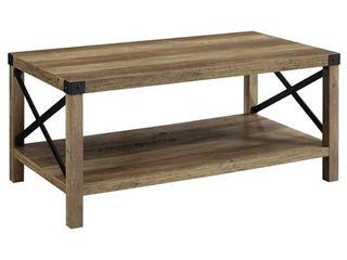 40 inch Metal X Coffee Table in Reclaimed Barnwood with Black Metal