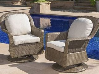 liam Outdoor Wicker Swivel Club Chair with Cushion  Set of 2  by Christopher Knight Home   Retail 1035 49