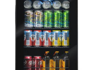 NewAir 90 Can Freestanding Beverage Fridge in Onyx Black  Compact with Adjustable Shelves and lock   Black