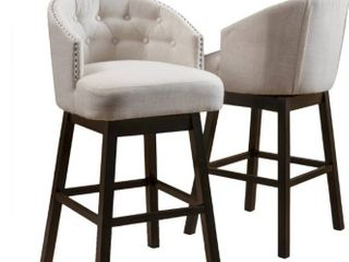 Kenzo Fabric Swivel Barstools  Set of 2  by Christopher Knight Home  Retail 281 49