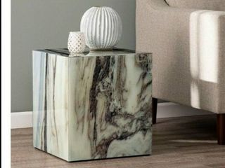 Strick   Bolton Pivenchy Contemporary White Marble Stone Accent Table  Glass
