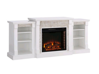 Copper Grove Marigold White fireplace and bookshelf