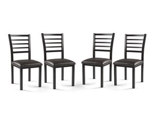 Furniture of America Rath Contemporary Black Faux leather Dining Chair Set of 4 Retail 183 99
