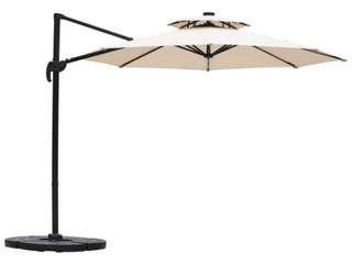 Ainfox 11ft 2 Tier Offset Hanging Patio Solar Powered Umbrella  Base Not Included  Retail 253 99