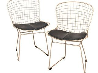 Pair of Newton Wire Chairs Gold   Buylateral