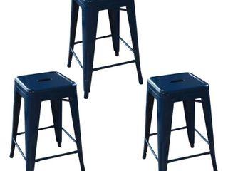 AmeriHome loft Blue 24 in  Metal Bar Stool   3 Piece Retail 134 99