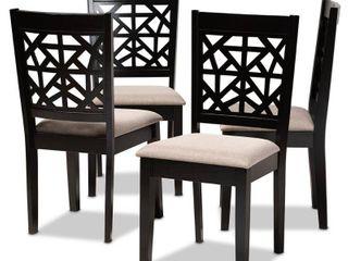 Baxton Studio Jackson Sand Upholstered Espresso Wood 4 Piece Dining Chair Set