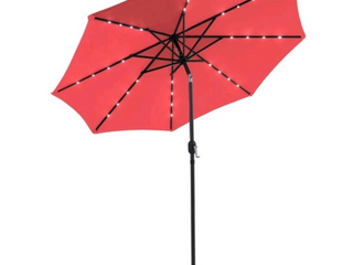 Red 9ft  Patio Patio Umbrella Sunshade Offset with Solar Powered lights