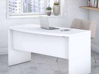 White Echo 60W Bow Front Desk by Kathy Ireland