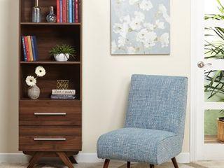 Simple living Ashfield Mid Century Walnut finish Bookshelf Tower with Two  2  drawers  Retail 217 49