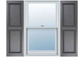 14 1 2 INCH X 35 INCH BUIlDERS CHOICE VINYl RAISED PANEl WINDOW SHUTTERS  W SHUTTER SPIKES   SCREWS  PER PAIR  GREY