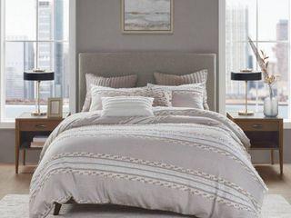 King California King lennon Organic Cotton Jacquard Comforter Set Taupe
