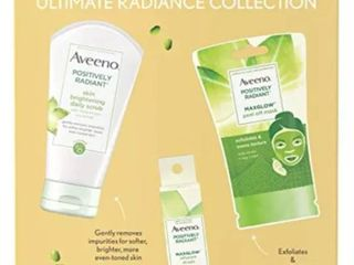 Aveeno Ultimate Radiance Collection Gift Set Kit Daily Scrub Peel Mask Drops