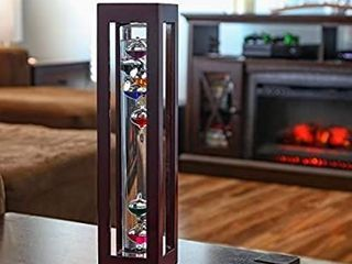 lily s Home Galileo Thermometer in a Wood Frame Mahogany Finish  A Timeless Design That Measures Temperatures from 60AF to 84AF  with 7 Multi Colored Spheres  15 Inches Tall