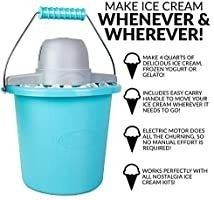 Nostalgia Electric Ice Cream Maker With Easy Carry Handle Makes 4 Quarts In Minutes  Frozen Yogurt  Gelato a Blue