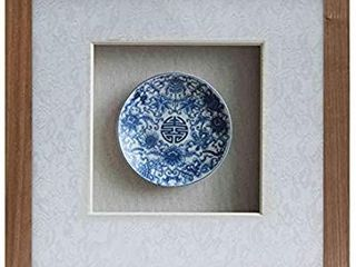 Chinese 12x12 inch Blue and White Porcelain Plate Framed Wall Art with Shadow Box Front Glass for living Room Entrance Corridor Home Decor