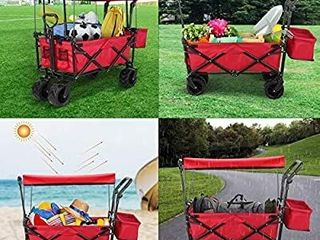 Push and Pull Collapsible Utility Wagon  Heavy Duty Folding Portable Hand Cart with Removable Canopy  7a All Terrain Wheels  Adjustable Handles and Double Fabric for Shopping  Picnic  Beach  Camping