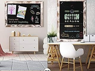 Board2by Rustic Wood Framed Magnetic Chalkboard 20 x 30  large Hanging Chalk Board Sign for Kids  Non Porous Wall Blackboard for Wedding Kitchen Restaurant Menu and Home with 4 Unique Magnets  White