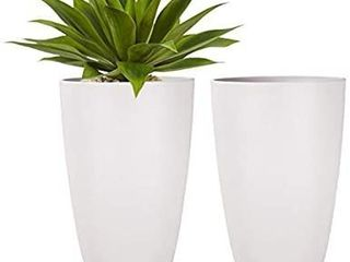 lA JOlIE MUSE Tall Planters Outdoor Indoor   Tree Planter 20 inch Modern White Flower Pots with Drainage Holes for Balcony Garden Patio Deck Pack 2