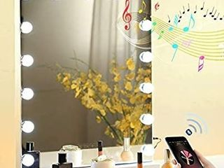 Fenair Makeup Vanity Mirror with Bluetooth   USB Charging Port   3 Color lighting Model 15 Bulbs Hollywood Style Makeup Mirror with lights for Dressing Table