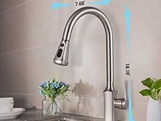 Gagal Single Handle Arc Brushed Nickel Pull out Kitchen Faucet  Pull Down Kitchen Faucets with Sprayer