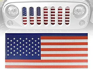 ICARS American Flag Front Mesh Grille Inserts for 2007 2018 Jeep Wrangler JK JKU Accessories   Unlimited Rubicon Sahara