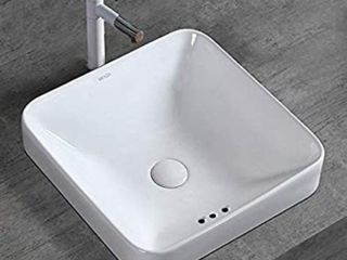WinZo WZ6173 Bathroom Semi Recessed Vessel Sink Square Modern Design Drop in Vanity Countertop Porcelain Ceramic Basin White