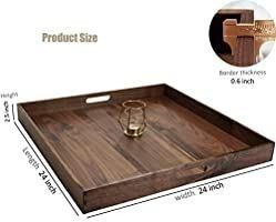MAGIGO 24 x 24 Inches Extra large Square Black Walnut Wood Ottoman Tray with Handles