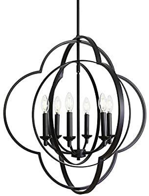 VINlUZ 6 light Chandeliers Black Candle Style Dining Room light Fixture Hanging Farmhouse Globe