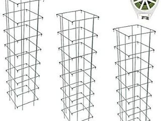 GROWNEER 3 Packs 65 Inches Square Folding Tomato Cages Plant Support  for Tomato Plants  Eggplants  Cucumber  Climbing Plants and More