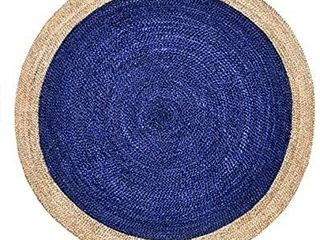 Green Decore Handmade Braided Round Natural Fiber Jute Rug  Oculus Navy  5 feet Diameter