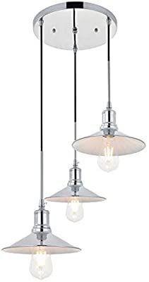 VINlUZ Industrial Chrome Pendant light Fixture Hanging light for Home Kitchen Island Dining Room Foyer