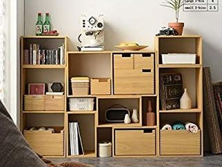 Kirigen Decorative Cubical Organizer 2 Cube Fully Assembled   Wood Stackable Open Cube Closet