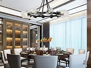 TUlUCE 10 light Pendant lighting  Round Chandeliers lighting Black with Glass Shades