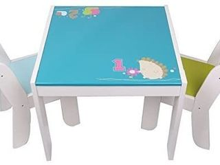 labebe Wooden Activity Table Chair Set  Blue  Green Hedgehog Toddler Table for 1 5 Years