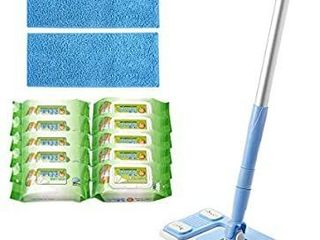 AClEAN 9 8  Floor 2in1 Mop  Disposal Wipe Microfiber Refill pad   2 Reusable Refill pad 5 Dry tissue 5 Wet tissue Blue