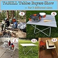 YAHIll Aluminum Folding Collapsible Camping Table Roll up 3 Size with Carrying Bag for Indoor and Outdoor Picnic  BBQ  Beach  Hiking  Travel  Fishing